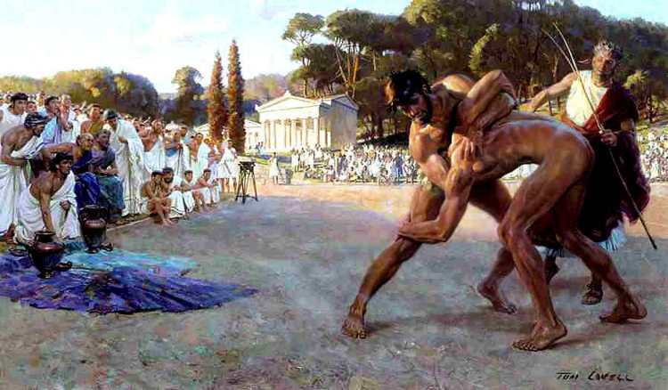 reek Wrestlers in the Ancient Olympic Games - Tom Lovell - Great Art - History Painting - Peter Crawford